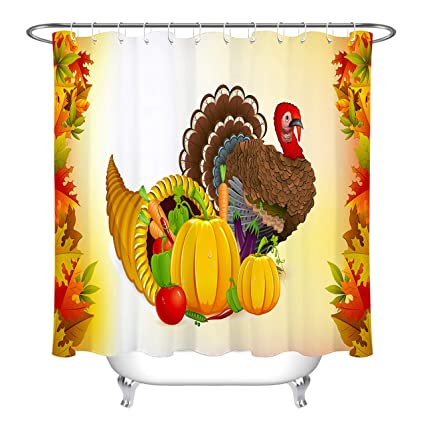 LB Thanksgiving Turkey Shower Curtain Set Autumn Seasonal Country Farm Harvest Pumpkin Leaves Pattern