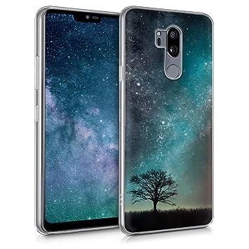 kwmobile Funda para LG G7 ThinQ/Fit/One - Carcasa de TPU para móvil y diseño de árbol y Estrellas en Azul/Gris/Negro