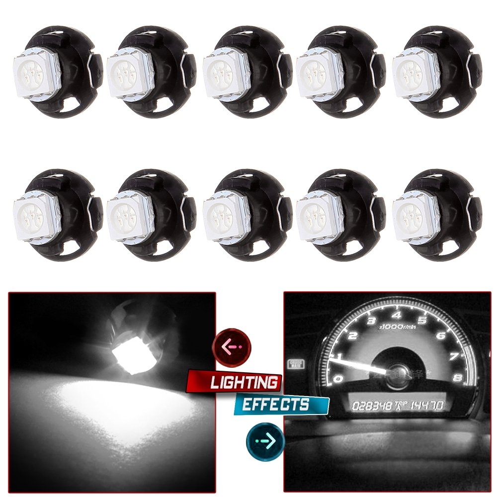 "cciyu 10 Pack White T5/T4.7 Neo Wedge LED Bulb Dash A/C Climate Control Instrument Light T5 T1.25"" Neo Wedge Base Replacement fit for A/C Climate Control Light"