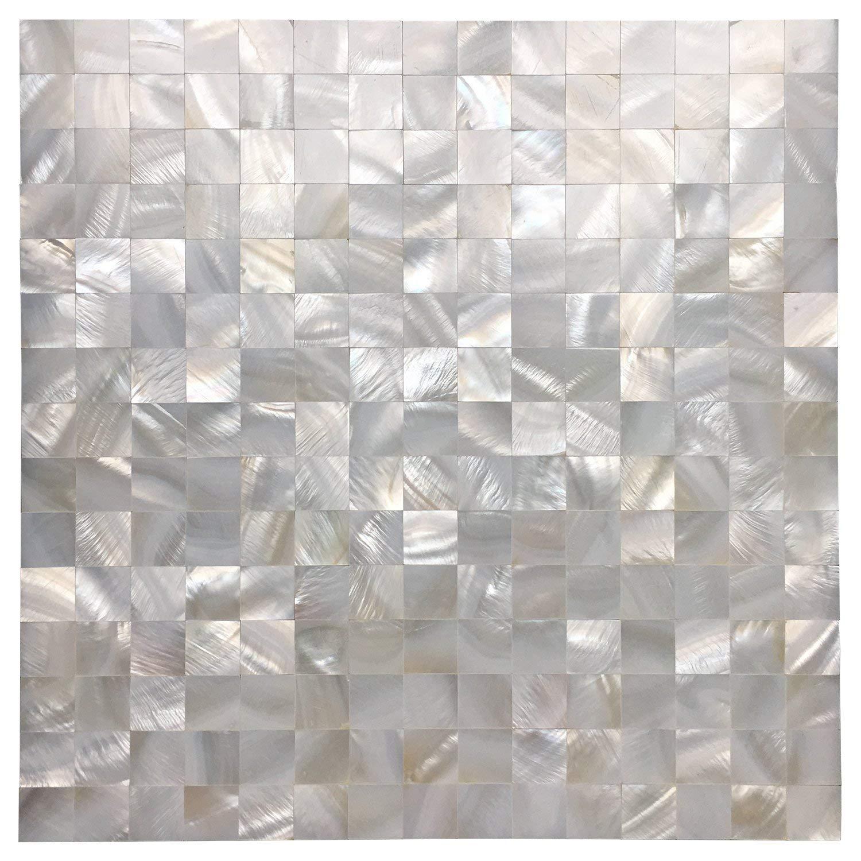 Art3d Mother of Pearl Mosaic Tile for Kitchen Backsplash/Bathroom/Shower Wall, 12'' X 12'' White Mini Square, Seamless