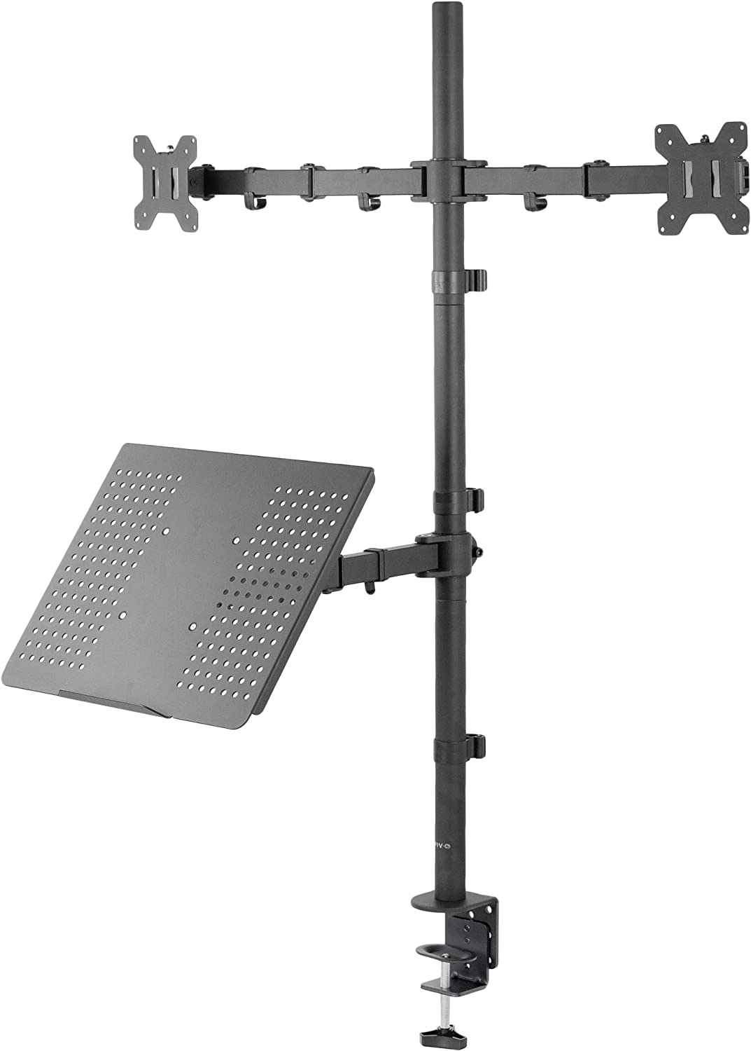 VIVO Laptop and Dual 13 to 27 inch LCD Monitor Stand up Desk Mount, Extra Tall Adjustable Stand, Fits Laptops up to 17 inches, Black (STAND-V012L)