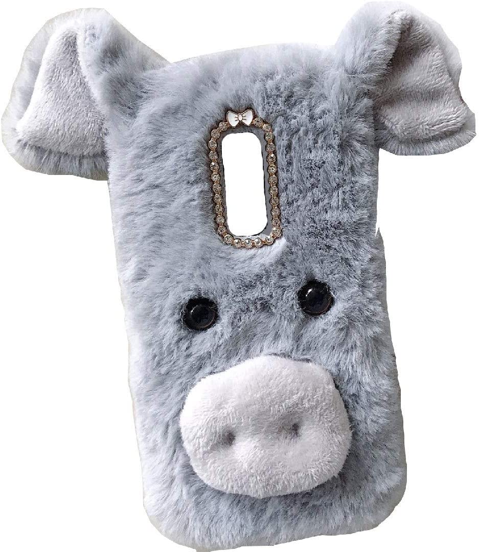 Lenovo Vibe K4Note/X3 Lite/A7010 Art Case, Handmade Fluffy Villi Pig Baby Wool Cute Ball Nose Winter Warm Soft Cover, TAITOU Beautiful Big Ear Light Slim Phone Case For Lenovo Vibe K4 Note LGray