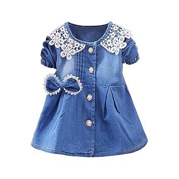 FeiXiang Ropa para Niños, Niñas Modelos de Primavera Nuevas Faldas de Mezclilla Faldas de Manga