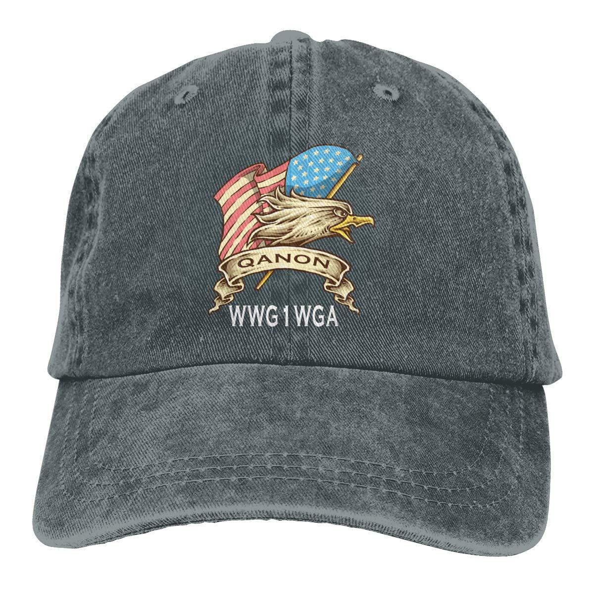 QAnon American Flag Eagle Q Anon WWG1WGA Fashion Adjustable Cowboy Cap Denim Hat for Women and Men