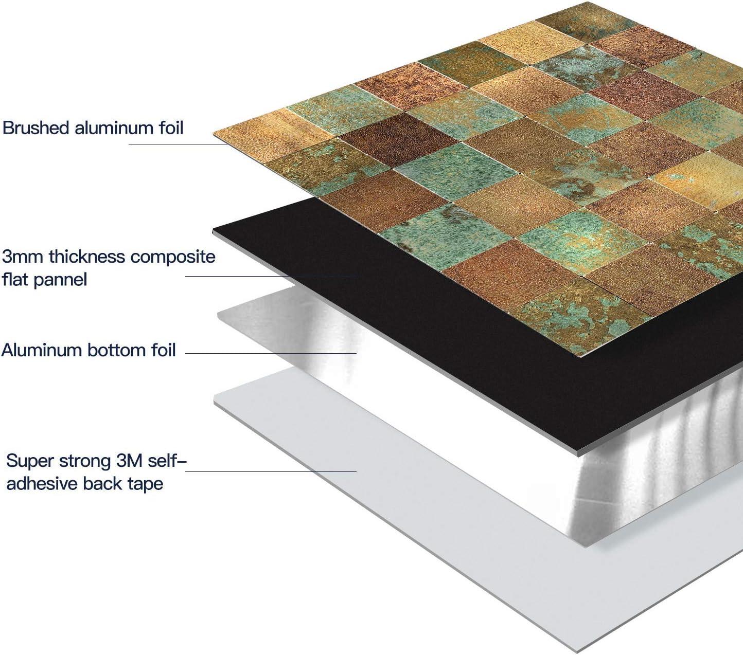 HomeyMosaic Peel and Stick Tile Backsplash for Kitchen Wall Decor Aluminum Surface Metal Mosaic Tiles Sticker,Square Plaid Imitation Rust Classical Retro Bronze,12x12 x 1 Tiles