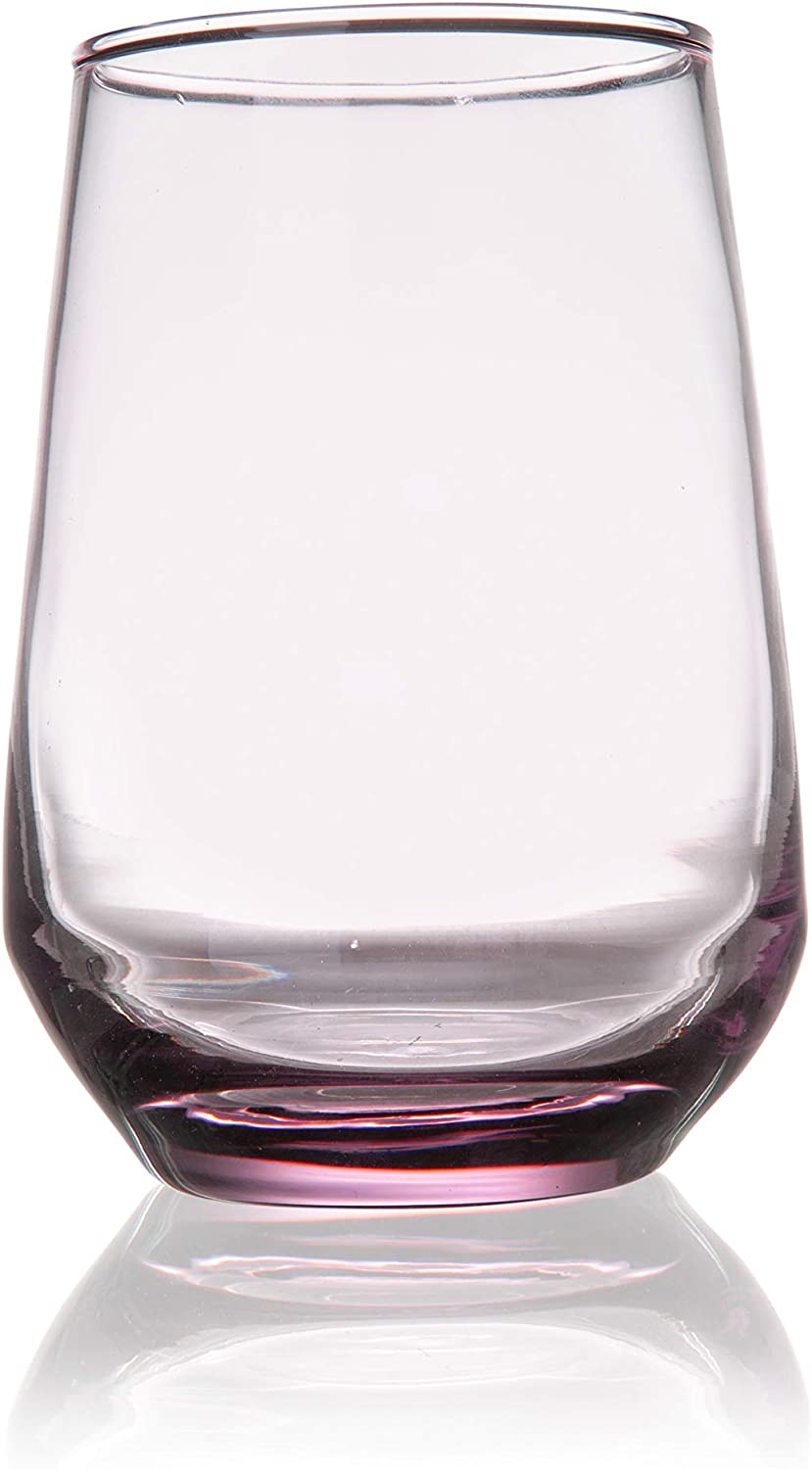 Burns Glass 13 OZ BRANDYWINE STEMLESS WINE Glasses Set of 6 I Clear Heavy Glass - Drinking Glasses for Water, Milk, Juice, Beer, Whisky, Wine I 13 Ounce Cups