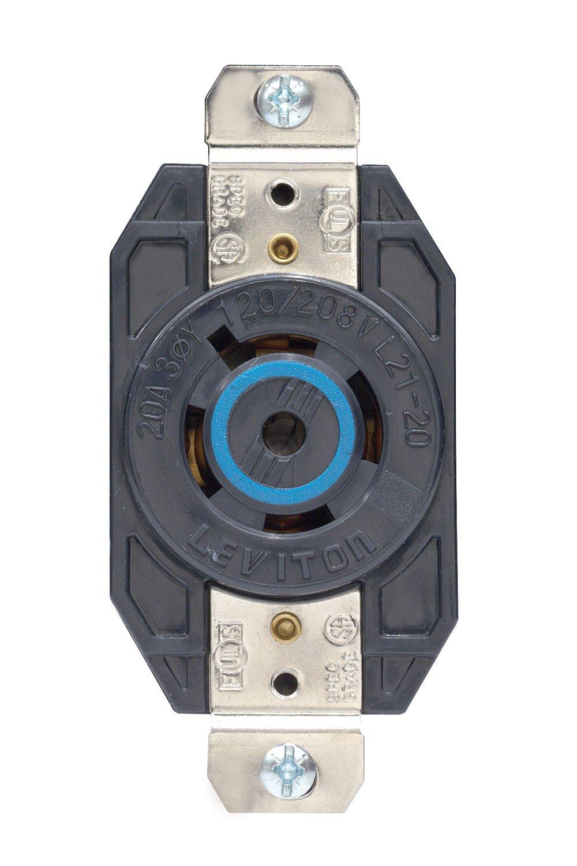 Leviton 2510 20 Amp, 120/208 Volt- 3PY, Flush Mounting Locking Receptacle, Industrial Grade, Grounding, V-0-Max, Black