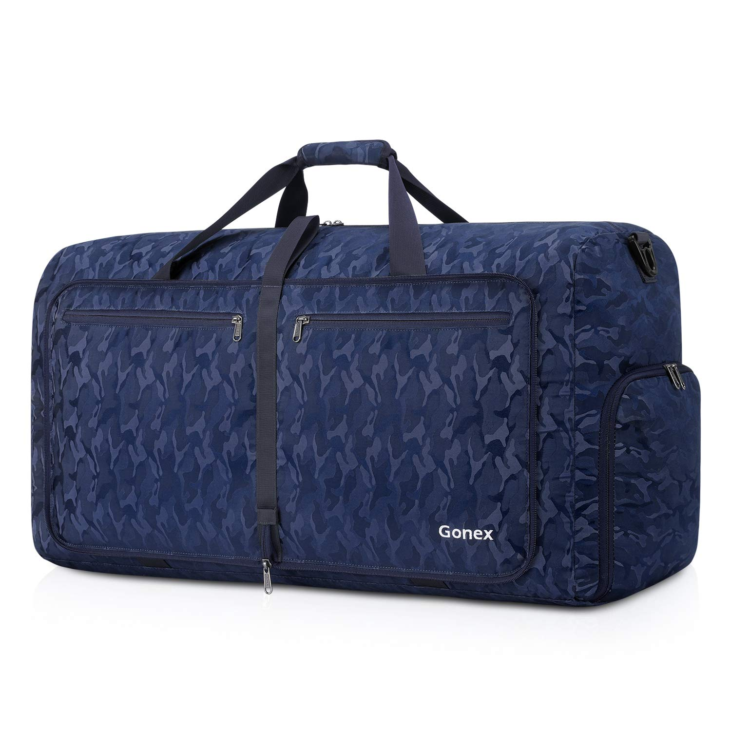 Gonex 80L Packable Travel Duffle Bag Foldable Cordura Duffel Bags for Luggage Gym Sports Camping Travelling Cycling Storage Shopping Water & Tear Resistant Black and Blue Camouflage by Gonex