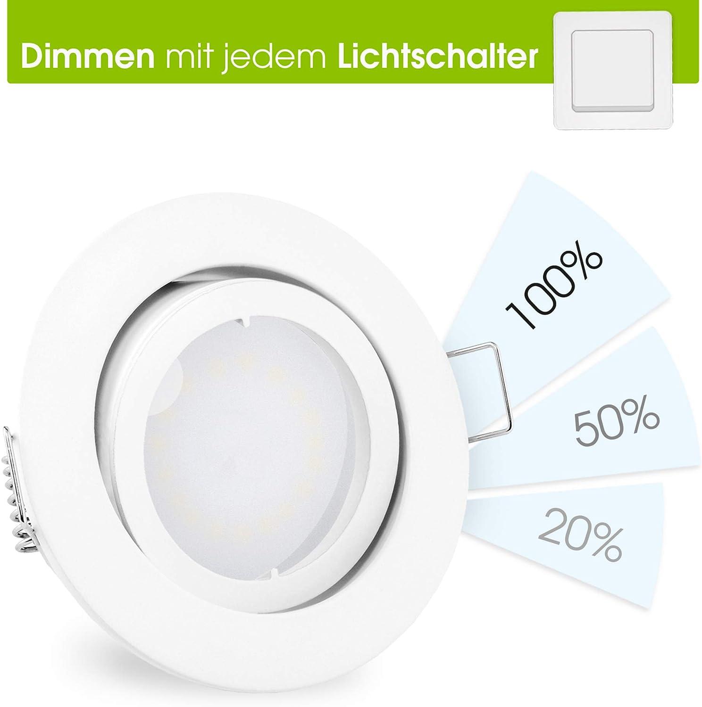 10 Stück linovum® fourSTEP Einbaustrahler LED schwenkbar dimmen ohne Dimmer - LED GU10 5W neutralweiß - Deckenspot weiß rund 1er-set - Weiß Lackiert