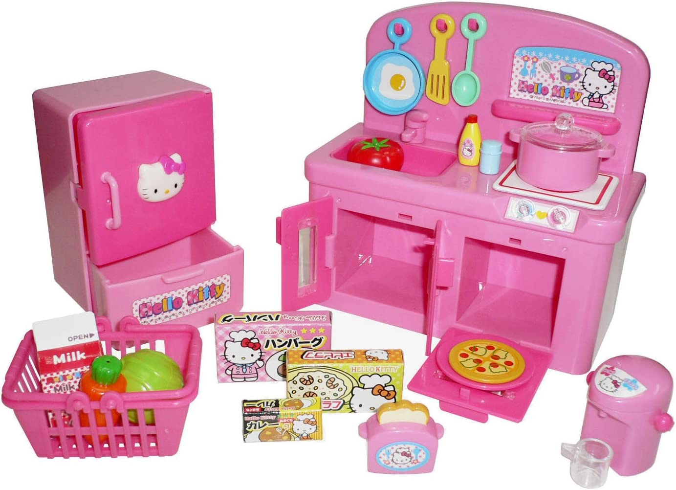 Amazon Com Hello Kitty Kitchen Play Set Miniature Toy Preschool Girl Role Play Toys Games