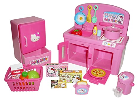 Amazon Com Hello Kitty Kitchen Play Set Miniature Toy Preschool