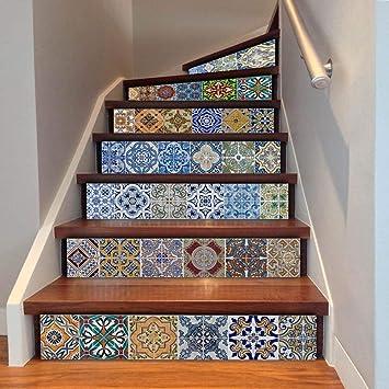 Calcomanías Autoadhesivas Para Escaleras Escaleras De Pasillo Impresión Digital Escalera Pintura Decorativa: Amazon.es: Bricolaje y herramientas