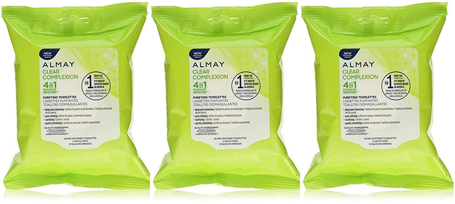 Amazon.com : Almay Clear Complexion 4 in 1 Makeup Remover, 25 Towelettes (Pack of 3) : Beauty