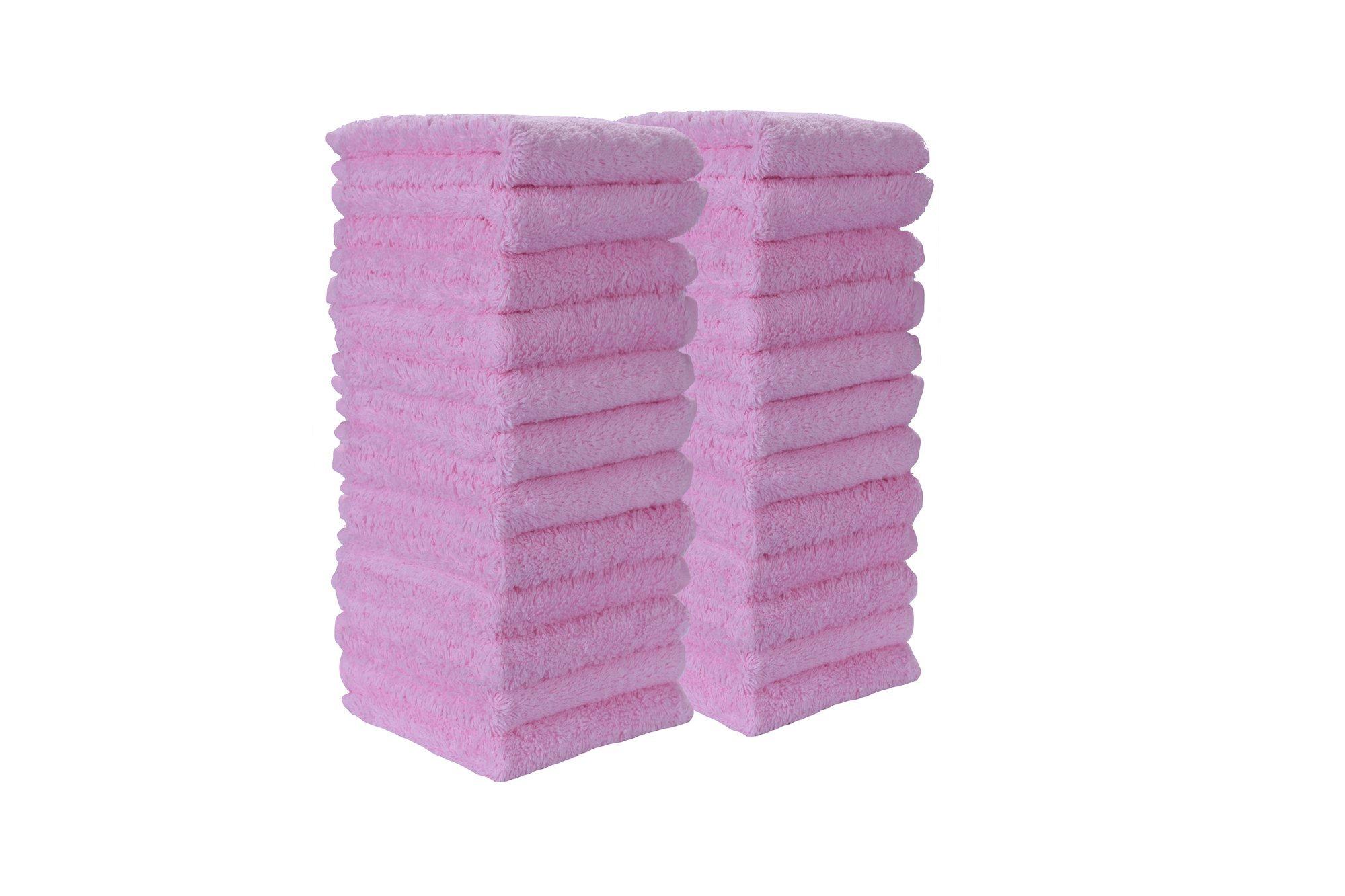 100% Turkish Soft Cotton Washcloth, Made in Turkey (Set of 24, Light Pink)