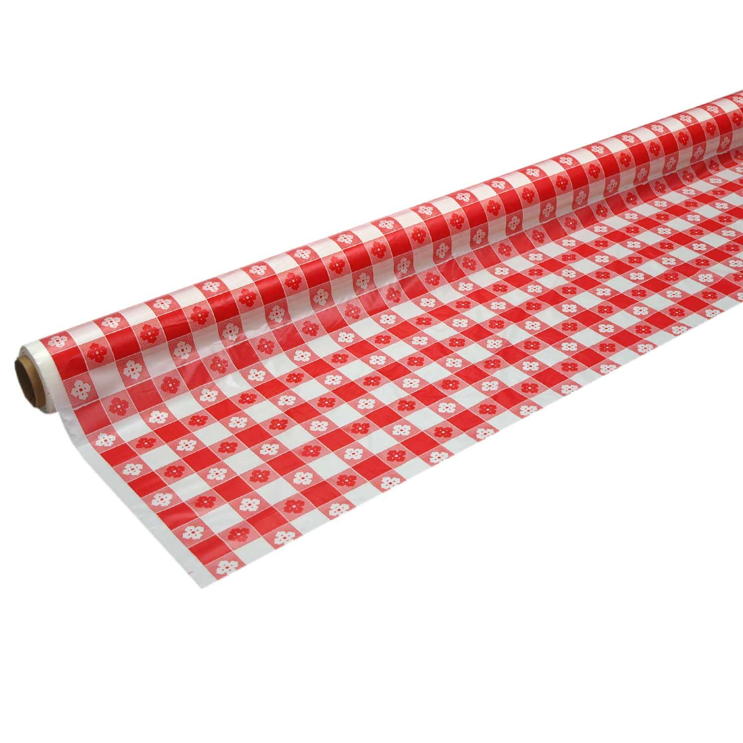 Party Essentials 4010 Heavy Duty Banquet Roll Plastic Tablecover, 100' Length x 40'' Width, Red Gingham Print (Case of 4)
