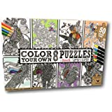 Valentina Color Your Own Jigsaw Puzzle Adult Coloring Book 8 Pack Animal Creatures