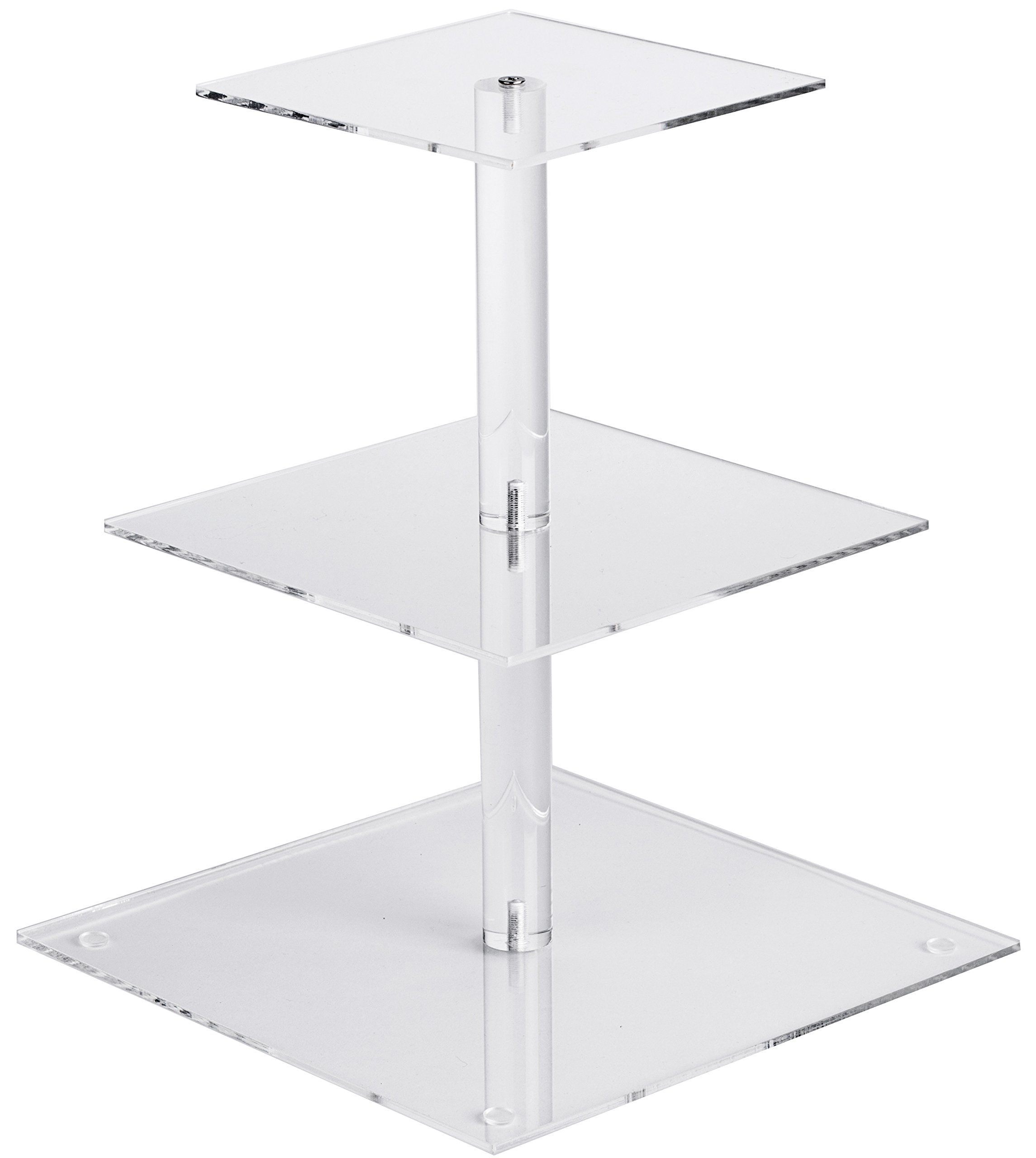 YestBuy 3 Tier Maypole Square Wedding Party Tree Tower Acrylic Cupcake Display Stand 3 Tier Square(6'' between 2 layers)
