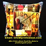 PRINTSWAYS 9 Photos Personalized LED Cushion 16 by 16 Inch Heavy Satin Cushion/Pillow for Birthday Gift, and Special Day Gift (Email id : info@printsways.com)