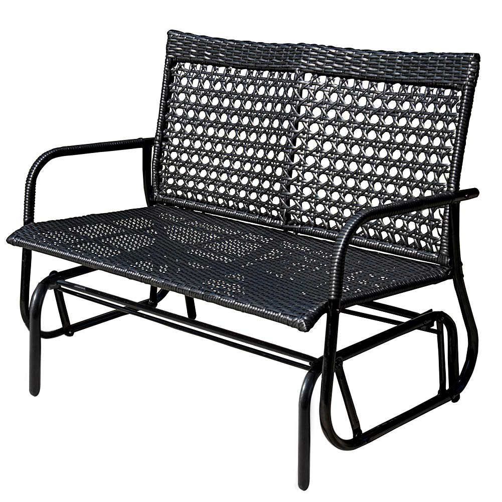 Sundale Outdoor 2 Person Wicker Loveseat Glider Bench Chair Patio Porch Swing with Rocker,Black Wicker