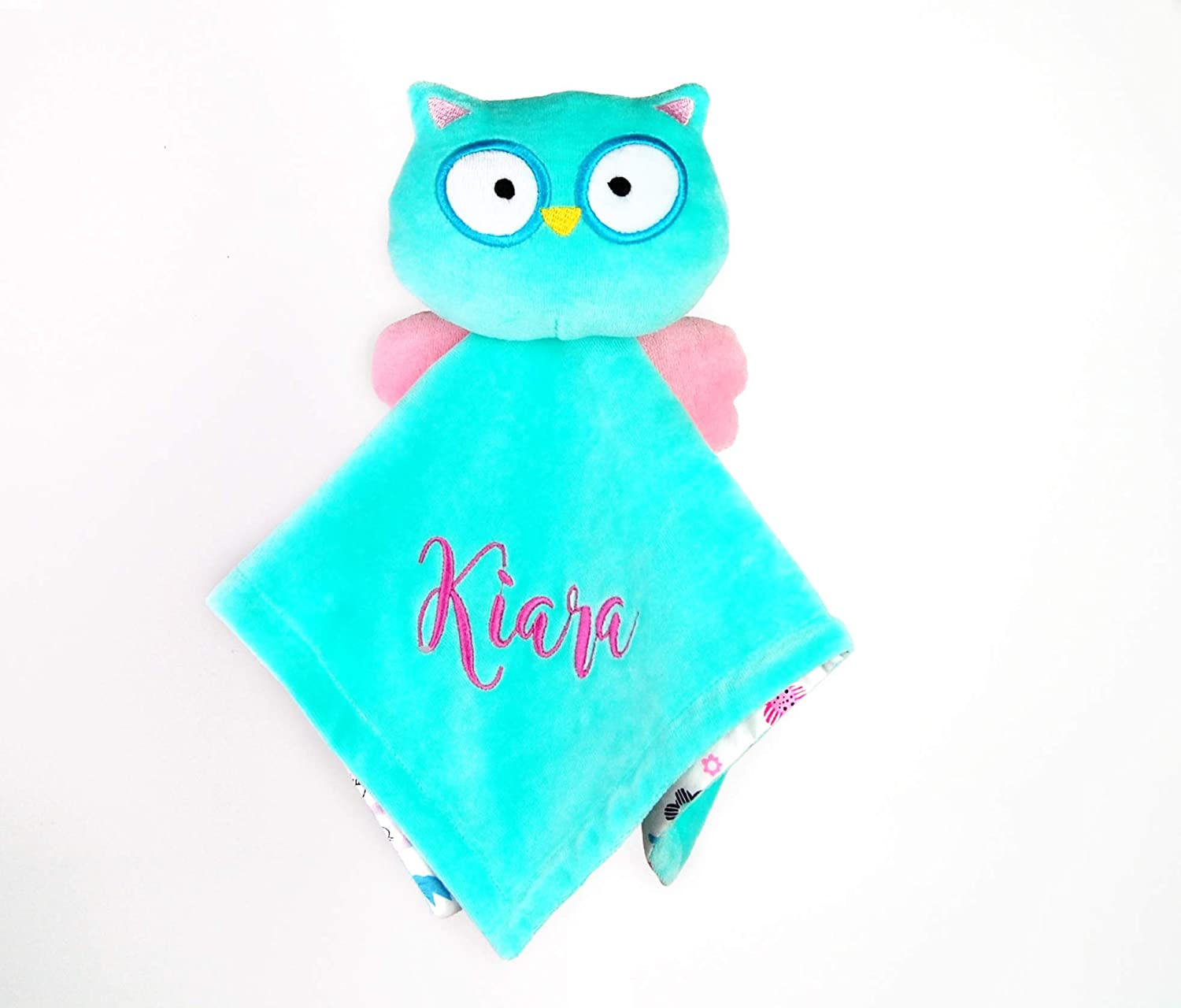 Owl Baby Blanket with Name Lovey Personalized Girl Security Blanket