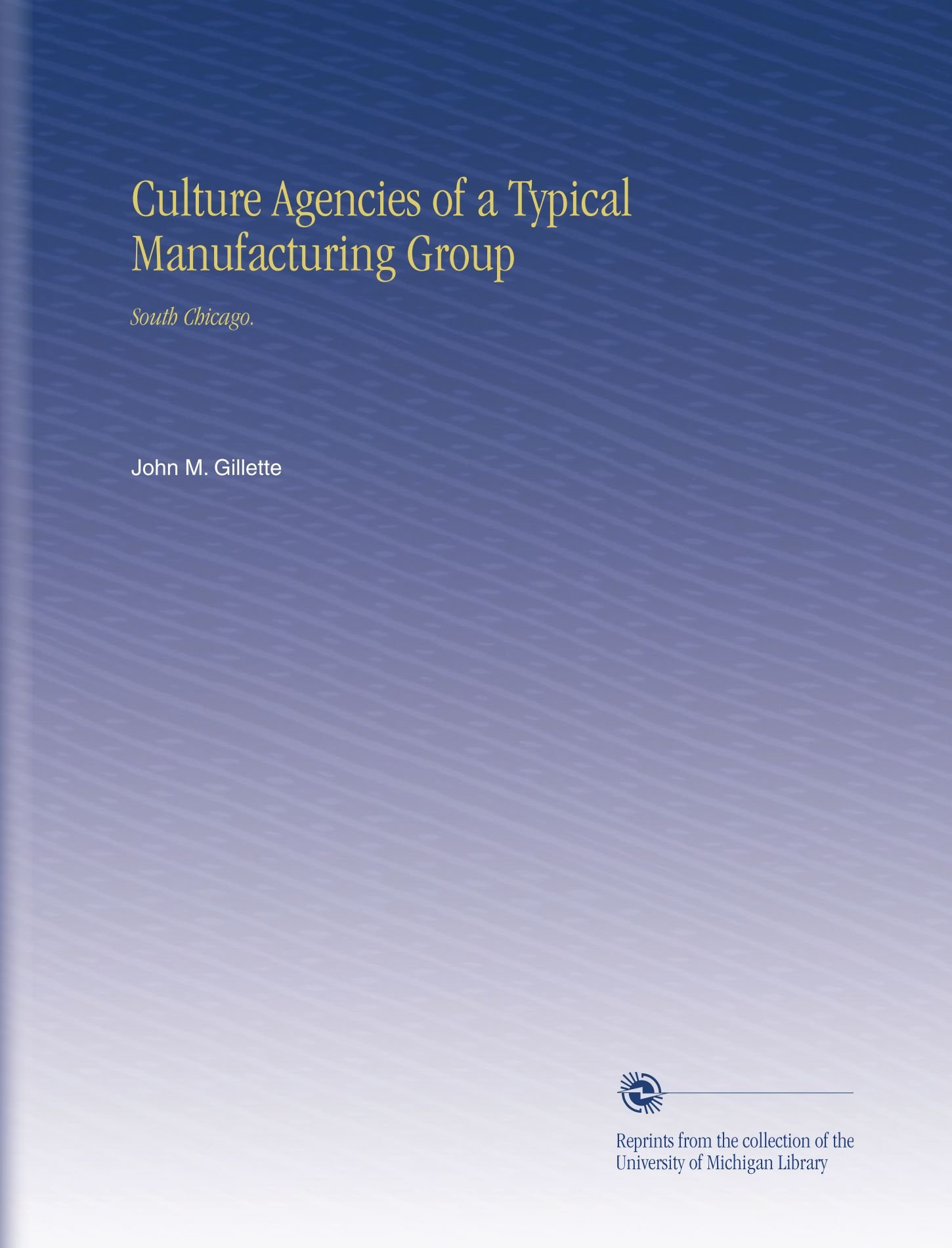 Download Culture Agencies of a Typical Manufacturing Group: South Chicago. PDF