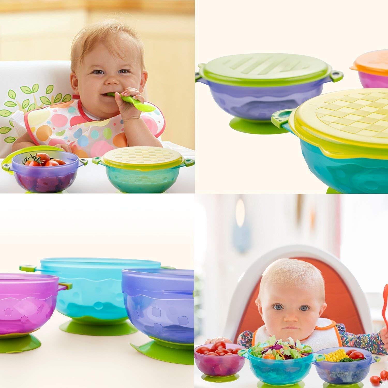 tapas f/áciles para evitar que se vuelque y derrame y atraiga a los beb/és Colorful Baby and Toddler Bowls con sello de succi/ón Set de 3 tama/ños