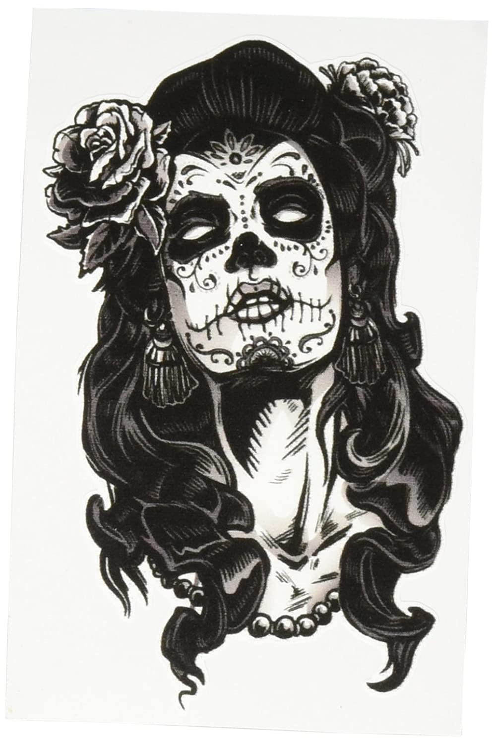 amazon com dia de los muertos woman with skull and rose black