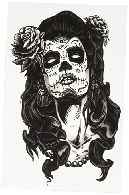 Dia de los muertos woman with skull and rose black white vinyl decal sticker two in