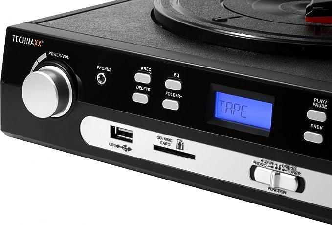 Technaxx 4350 - Tocadiscos (MMC, SD), negro: Amazon.es: Electrónica