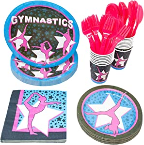 Gymnastics Party Supplies Packs (113+ Pieces for 16 Guests!), Gymnastics Party Supplies, Birthday, Competition