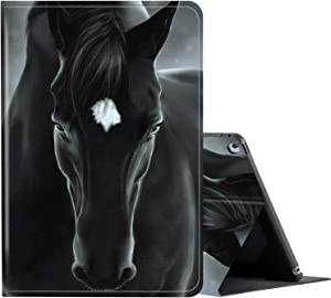 iPad 2/3/4 Case (Old Model,2nd/3rd/4th Gen), Multi-Angle Adjustable Stand Case Protection with Auto Wake/Sleep Smart Cover for Apple iPad 2nd/3rd/4th Generation 9.7 Inch- Beautiful Black Horse