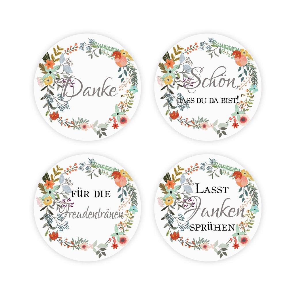 48x Boho Blumen Kranz Sticker Aufkleber Danke Zur Hochzeit