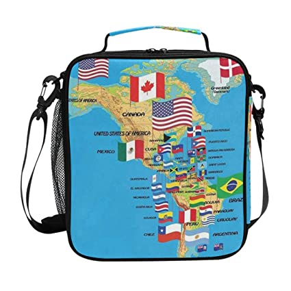 fea644b7cd8e Amazon.com: North And South America Map With Flags Country Lunch Bag ...