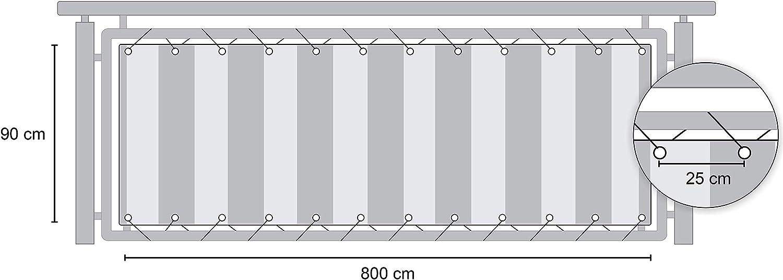 Angerer Paravista per Balcone Design No 5300 Verde-Rosso-Giallo 75 cm Lunghezza: 6 Metro