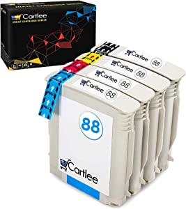 Cartlee Set of 4 Remanufactured 88xl High Yield Ink Cartridges for HP OfficeJet Pro Printers K5400 K5456DN K550 K8600 L7000 L7480 L7500 L7550 L7580 L7700 L7590 L7600 L7680 L7650 L7681 L7710 L7750