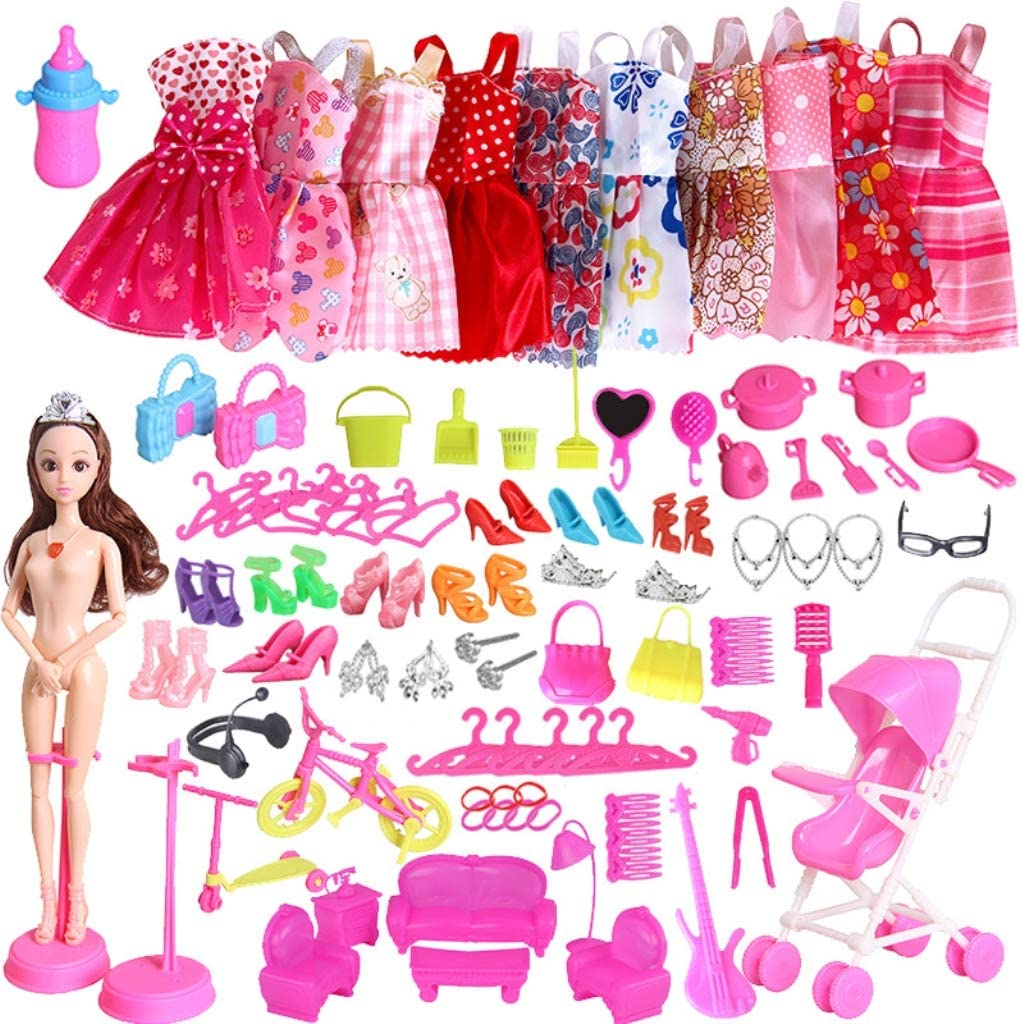 Amycute 83 Piezas Kit De Accesorios Muñeca Barbie 10 Vestidos Accesorios Fashion para Barbie Muñeca Doll Regalo cumpleaños de niñas