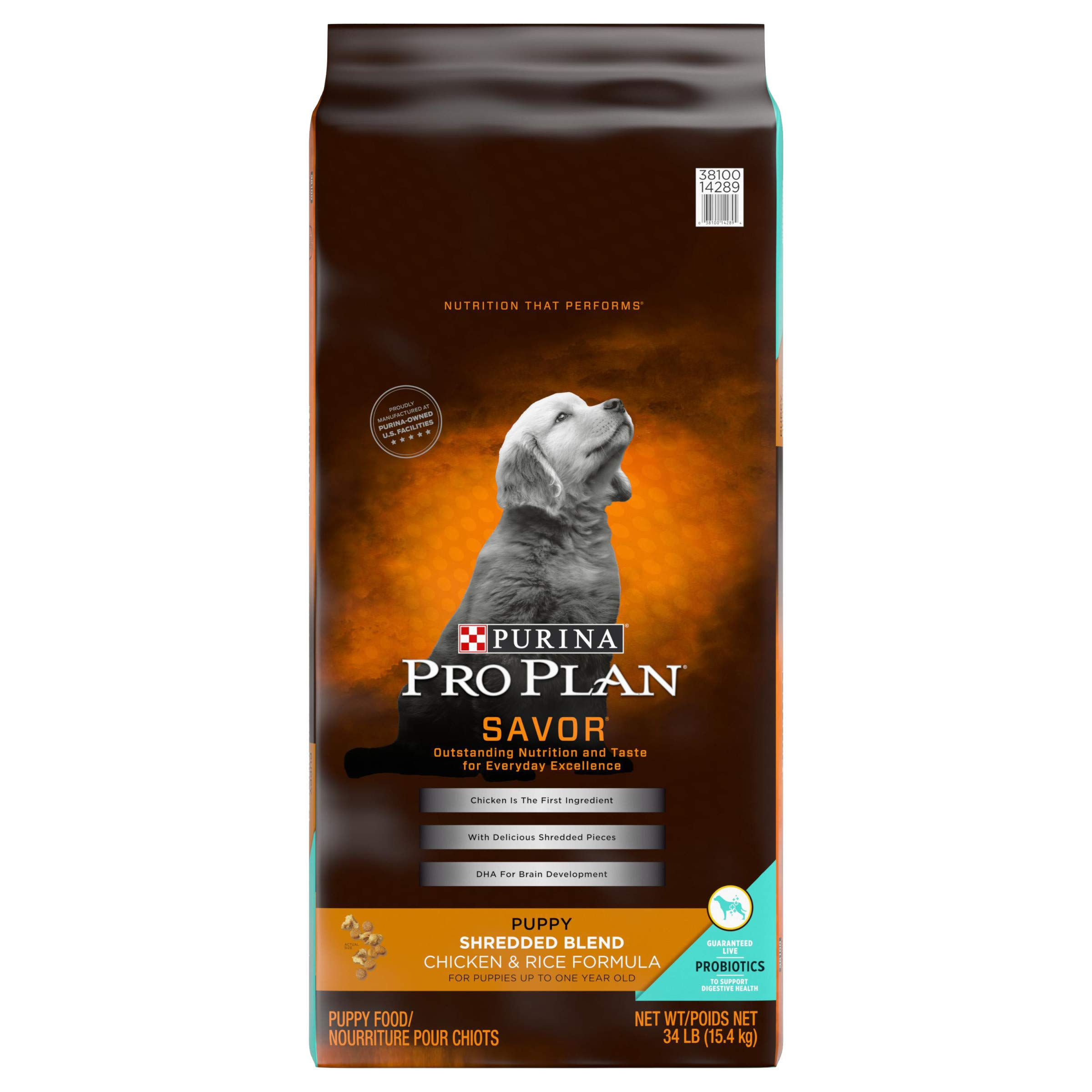 Purina Pro Plan Probiotics Dry Puppy Food, SAVOR Shredded Blend Chicken & Rice Formula - 34 lb. Bag by Purina Pro Plan