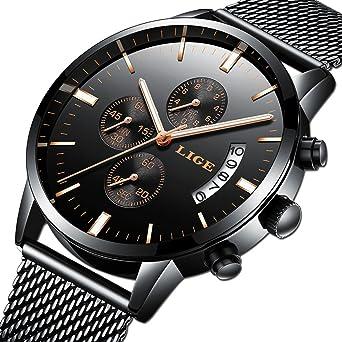 Relojes Hombre Moda Reloj Cuarzo analógico Marca LIGE Reloj de Pulsera clásico para Hombre Acero Inoxidable Malla Watces Oro Negro