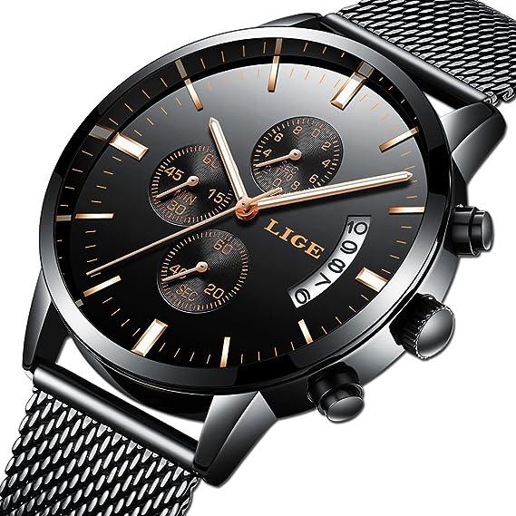 Relojes Hombre Moda Reloj Cuarzo analógico Marca Lujo LIGE Reloj de Pulsera clásico para Hombre Acero Inoxidable Malla Watces Oro Negro: Amazon.es: Relojes