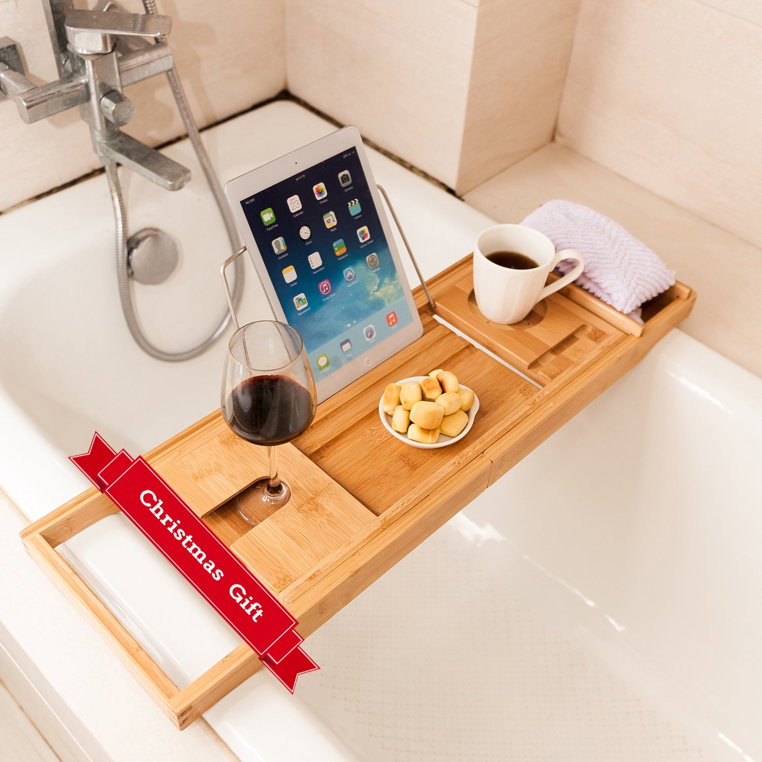 27.6 X 8.7 X 1.9 Mosa Natural Bamboo Bathtub Tray Bath Caddy Book Wine Glass Phone Holder