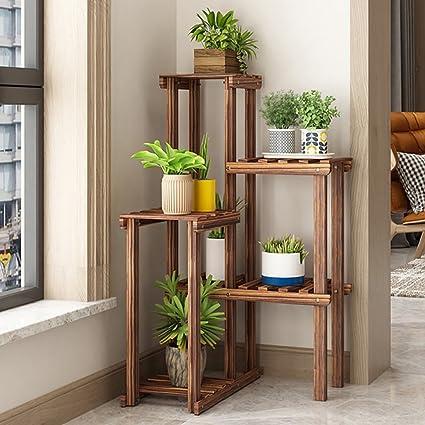 Amazoncom Jhzwhj Wooden Flower Rack Indoor Plant Stand Wooden
