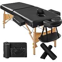 TecTake Table Lit de Massage Pliante Portable épaisseur de coussin 7,5cm + Rouleau + Demi-rouleau - diverses couleurs au choix - (Noir   No. 400421)