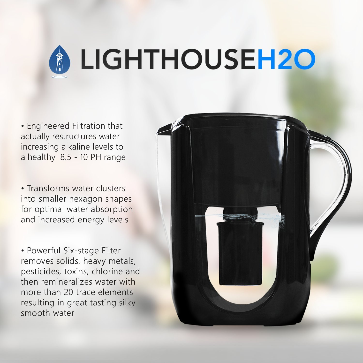 Lighthouse H2O Alkaline Water Filter Pitcher Cartridge 2 Pack Replacement for Lighthouse H2O Pitchers