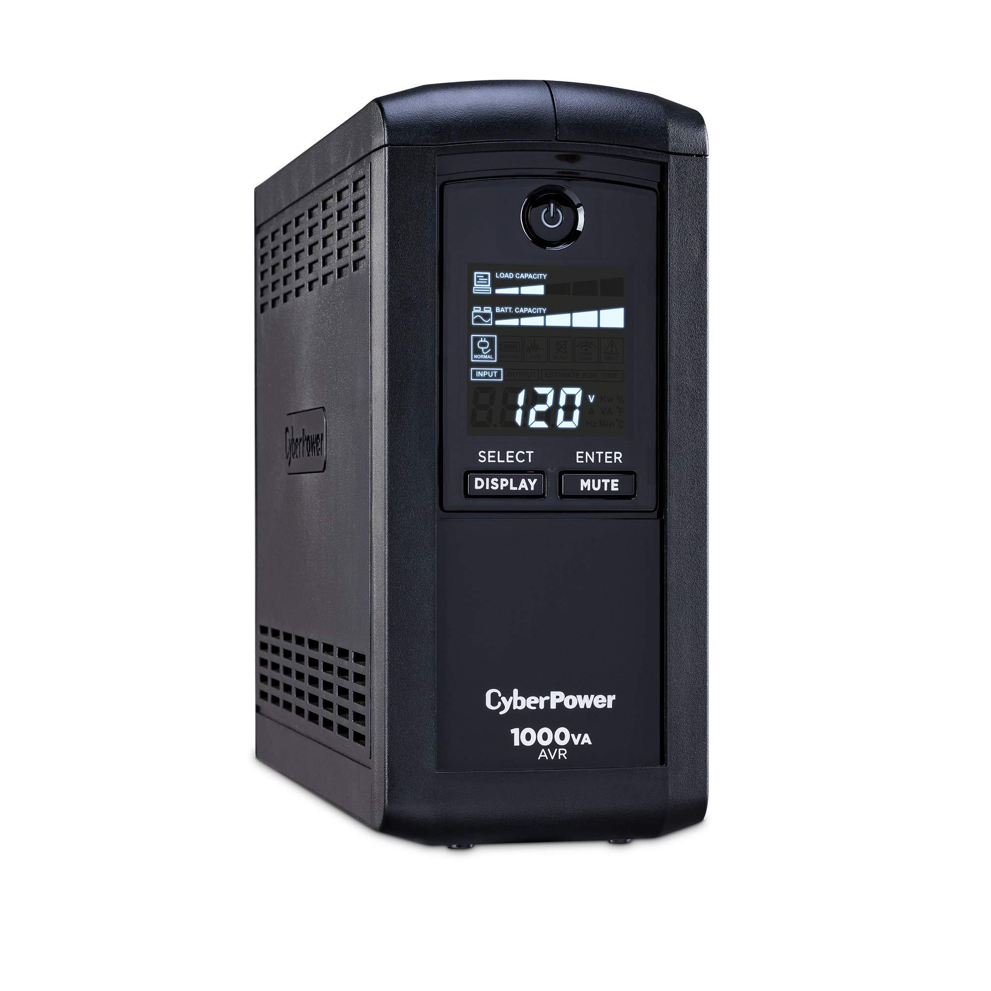 CyberPower CP1000AVRLCD Intelligent LCD UPS System, 1000VA/600W, 9 Outlets, AVR, Mini-Tower, Black