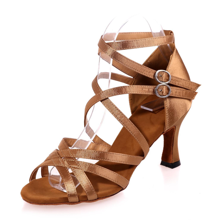 Weibliche Standardtanzschuhe Latin Satin Ballroom Sandalen (Farbe)     B077DQ4N5L Tanzschuhe Verschleißfest 49234b