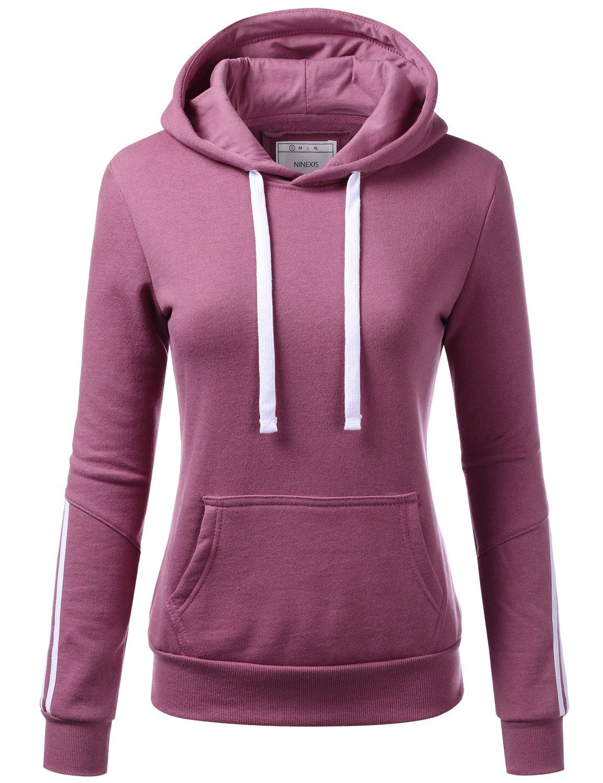 NINEXIS Womens Long Sleeve Arm Multiple Line Pullover Hoodie Sweatshirts LTPURPLE S