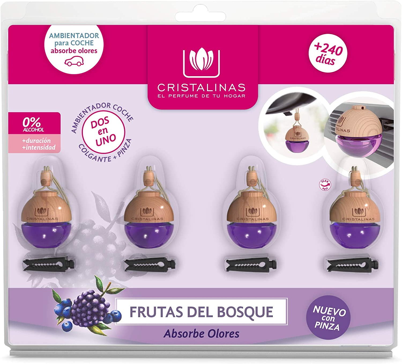 CRISTALINAS. Pack 4 Unidades Ambientador & Absorbe Olor para Coche esférico. Doble sujecion: Pinza + Colgante. 0% Alcohol.Mas de 8 semanas de duración Cada uno Aroma Manzana (Frutas del Bosque)