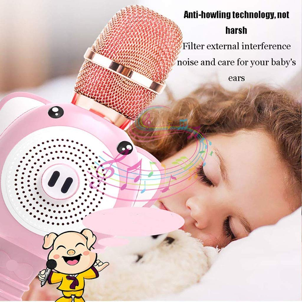 Rsiosle Kids Karaoke Wireless Bluetooth Microphone, Portable Mic for Child with Speaker for Home Party KTV Birthday Gift Compatible with Android iOS PC ( Color : Pink ) by Rsiosle (Image #4)