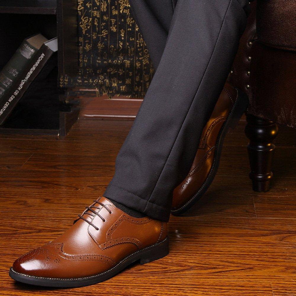 MERRYHE Echtes Leder Brogue Für Herren Lace Oxford Ups Business Formale Kleid Oxford Lace Schuhe Hochzeit Work Party Schuh Braun d65cf2