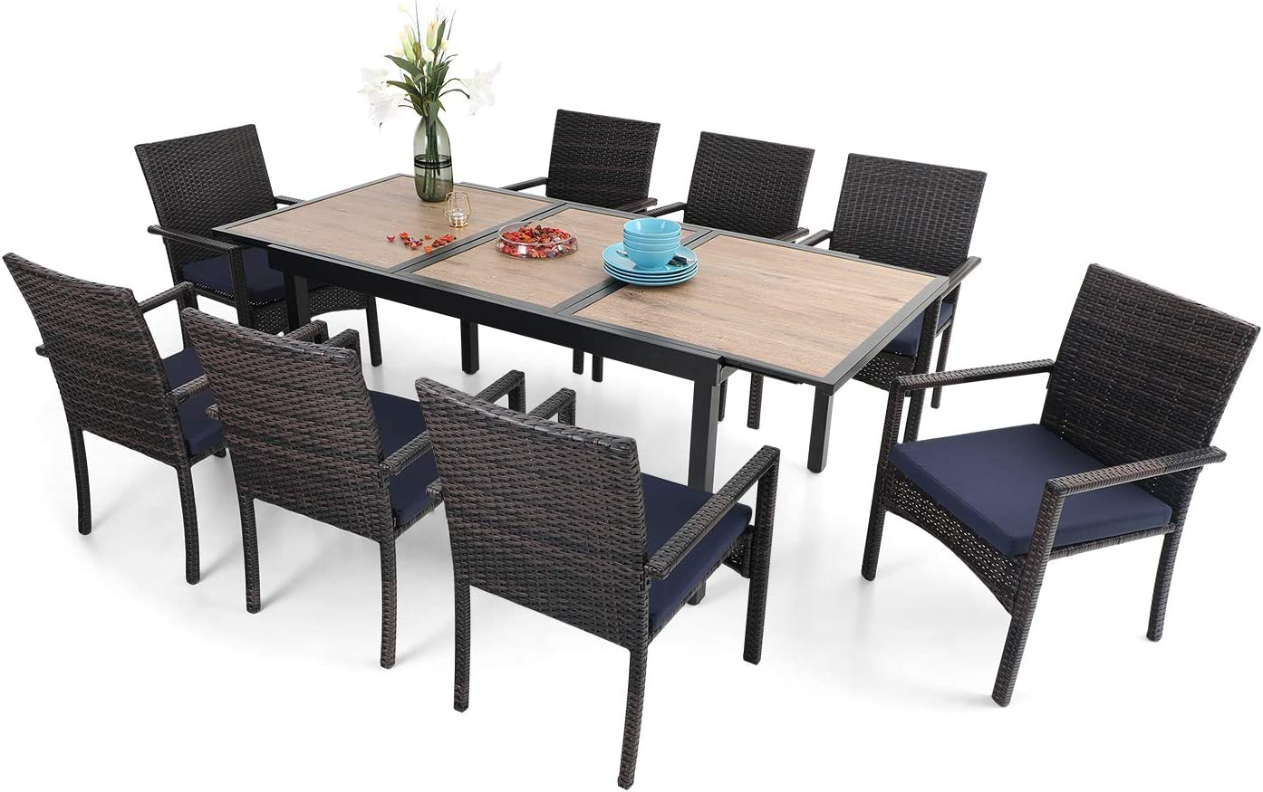 PHI VILLA 9 Piece Outdoor Dining Table Sets, Expandable Rectangular Metal Table with Wood Like Tabletop and 8 Rattan Chairs for Patio, Deck, Yard